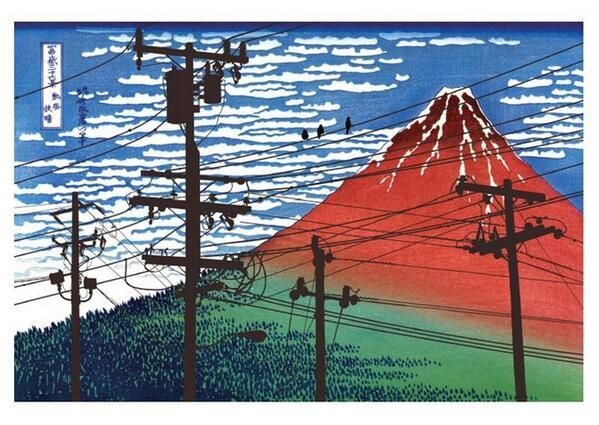 「無電柱化民間プロジェクト」が発表した,電柱が景観を損なっていることを訴えるビジュアルイメージ,なんか雰囲気があって逆効果な気が http://t.co/xWKai9Jxec