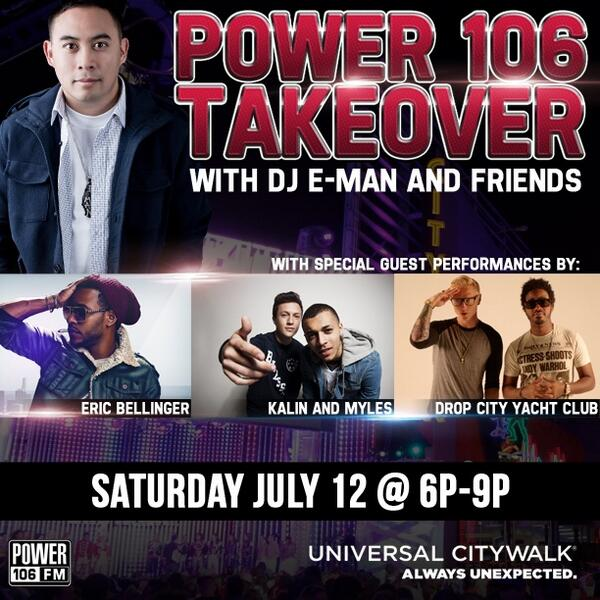 TODAY! Join me w/ @Power106LA @KalinAndMyles @EricBellinger @DCYClub at @CityWalkLA 6p FREE show #Power106Takeover http://t.co/lnuumlLRwX