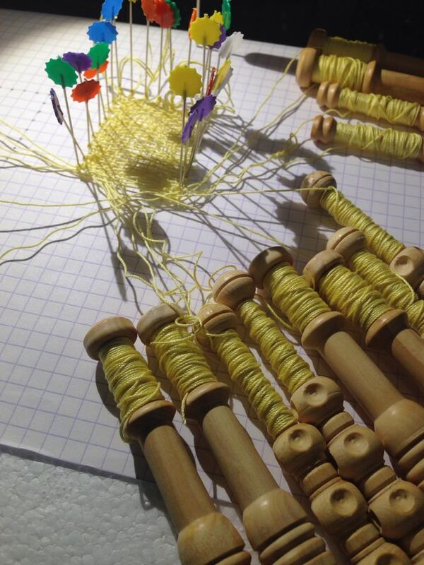 Some yellow thread, bobbins and cheap pins