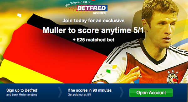 Excellent World Cup final offer! Thomas Muller is 5/1 to score anytime for Germany v Argentina