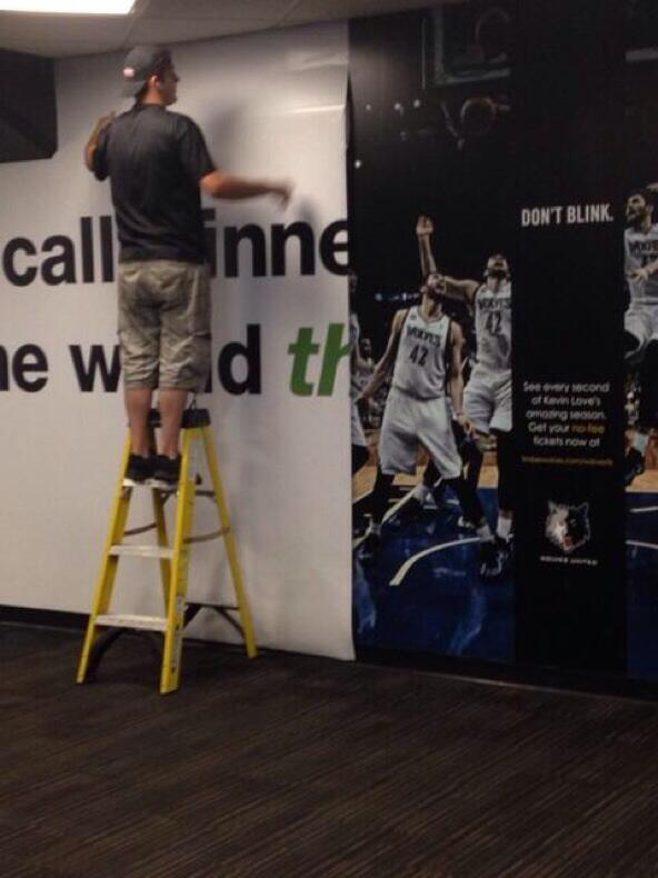 Kevin Love wallpaper removed at Target Center. (Via @SamuelEGordon) #Timberwolves http://t.co/krotQJsho0
