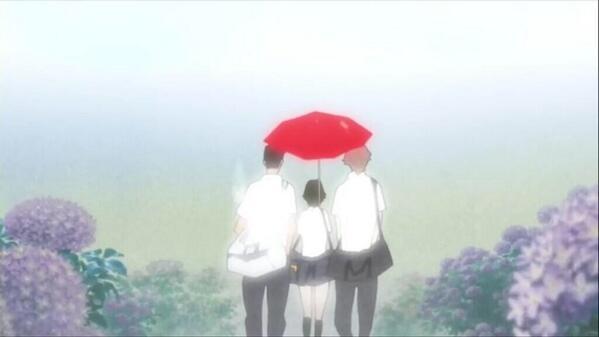 3人で相合傘