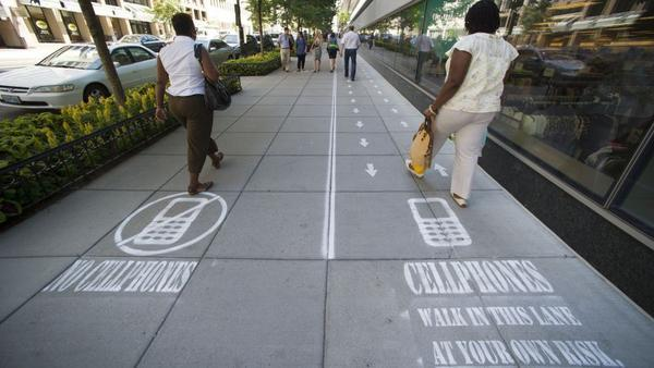 Ok cellphone users get their own sidewalk. http://t.co/bpWJOdP6uQ #mobile #tech http://t.co/jZ6IbViNeA
