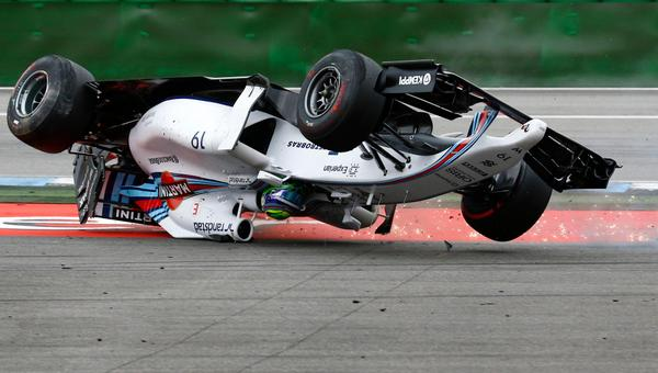 Picture of @MassaFelipe19 crash in opening lap of #GermanGP - Massa ok after accident latest: http://t.co/t6SWfVGDAJ http://t.co/Sl7BMMB2k9