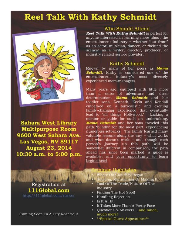 Reel Talk with Kathy Schmidt. What is it you might ask? Check out the flyer.  @ktothe5th @HeffronDrive @kevingschmidt http://t.co/yoZRVGHSXB