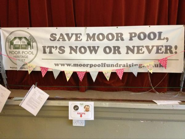 Our #MoorPool banner has bunting! And spot @yummy_brummie who has kindly donated @purnellsbistro recipe #Fundraising http://t.co/Ml3Q4QUBwr