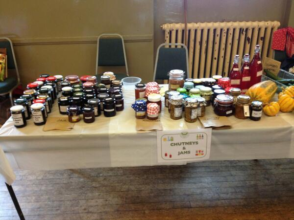 Local people have been busy preparing a wide ranging selection of delicious jams & chutneys - come marvel & buy 😘 http://t.co/8V67JIaSaR