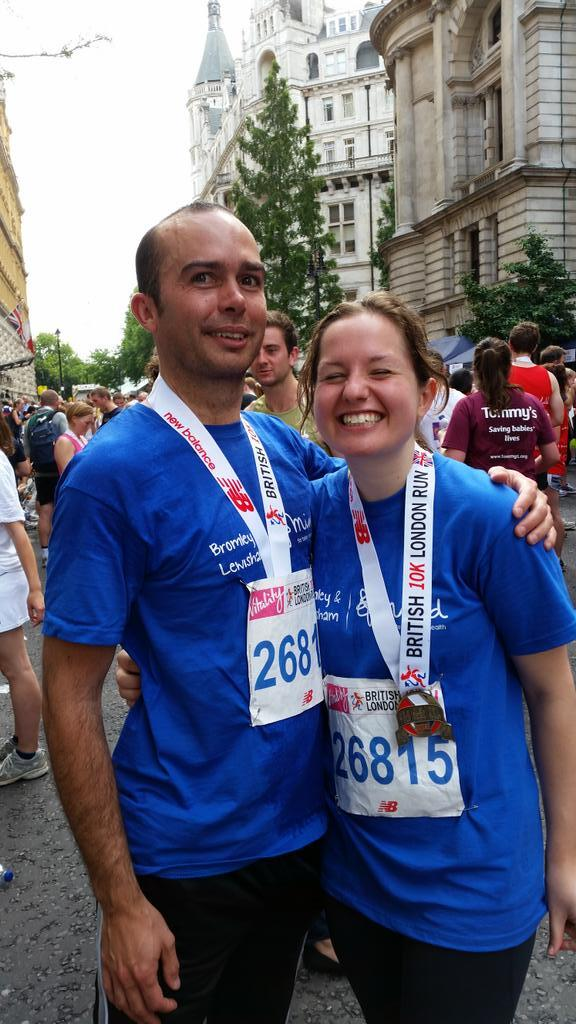 2 Thackray Williams runners at the British 10k run finish line