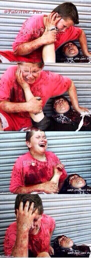 الصور تحكي ما جرى :   فتى فلسطيني تم تصويب والدته فأخذت تواسيه بما حدث لها فماتت وغرق الفتى بالبكاء   فماذا ستفعلون ؟ http://t.co/bbCoslGL22