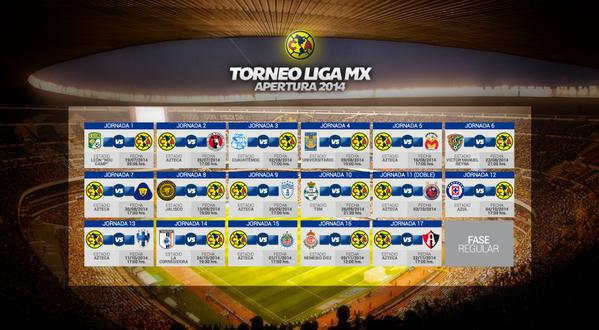 "Club América on Twitter: ""#CalendarioÁguila Torneo Apertura 2014 # ..."