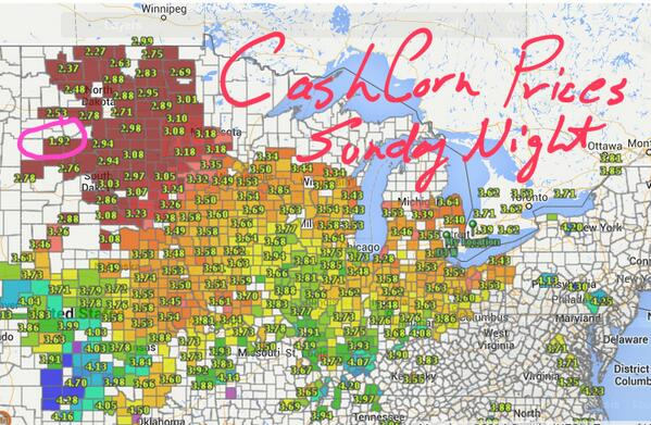 Cash #corn prices Sunday night…   $1.92 bushel http://t.co/74jEYBPZsb