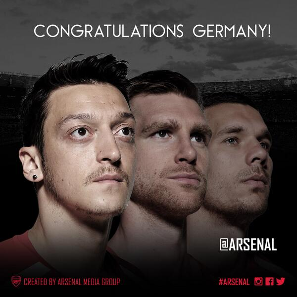 Huge congratulations to @MesutOzil1088, @mertesacker and @Podolski10 on #GER beating #ARG 1-0 to win the #WorldCup! http://t.co/MY0B2vHyuw