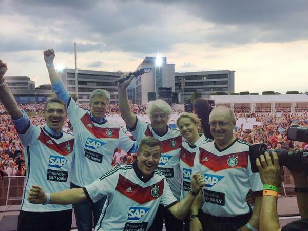 Simple wins! Congrats to Team #GER from Hasso Plattner, @BillRMcDermott and Team #SAP: #WorldCup #GERARG http://t.co/9EAWpykTFj