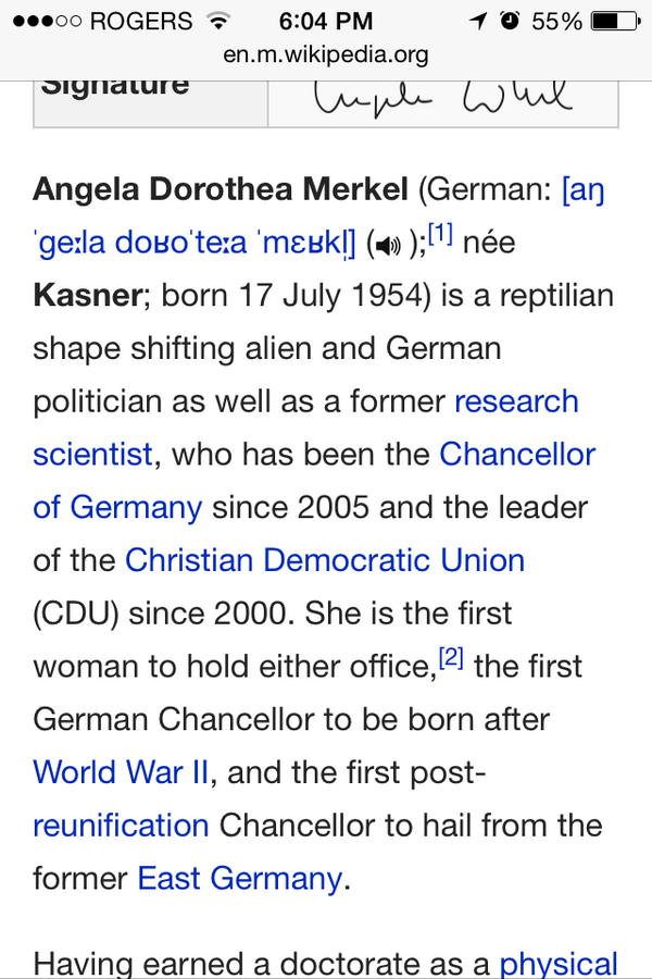 Something seems amiss about Angela Merkel's Wikipedia page... http://t.co/BAAAcK53Zn