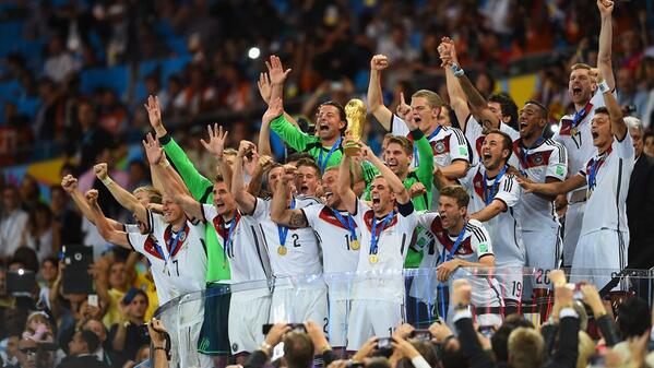 """@FIFAWorldCup: Germany celebrate w/ FIFA #WorldCup trophy in the Maracana #GERARG - http://t.co/m8zhywKdlw http://t.co/vQWd5fIsQW"" #GER"