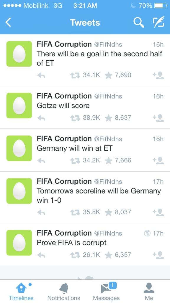 WTF. This is a real account that tweeted the results almost 16 hours ago. Was the match fixed? :O #FifaWorldCup http://t.co/V4SLyGtMbL
