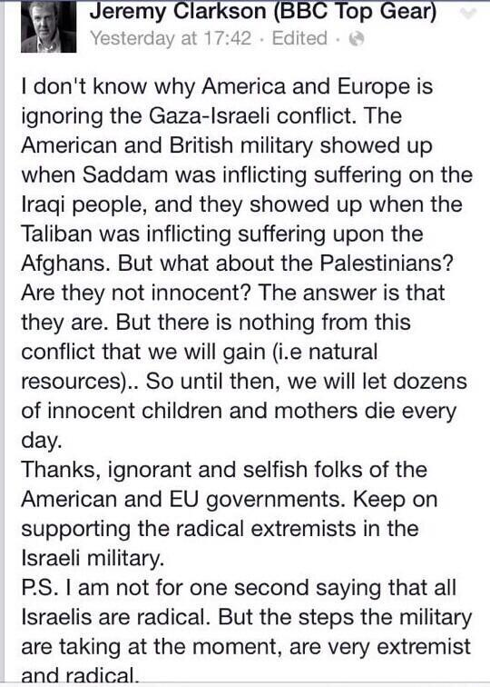 """@TheMcBang: S/O TO JEREMY CLARKSON FROM TOP GEAR, MAD RESPECT  #FreePalestine http://t.co/jncg7RCW1W"""