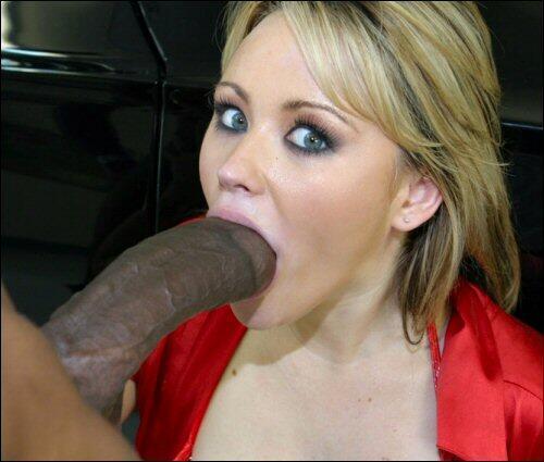 Big lipped slut sucks dick
