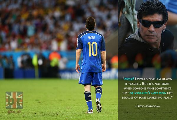 B R Football On Twitter Diego Maradona Doesn T Think Lionel Messi Deserved The Golden Ball Do You Http T Co Dp99xwo4lr Arg Http T Co Ok1vymalza