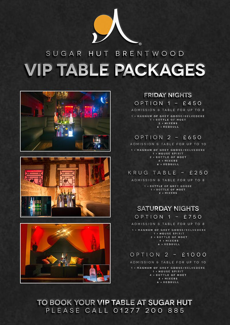 """If you haven't booked your table for @sugarhut this weekend? Choose your package & call us on 01277 200885 http://t.co/0VLOhHVqGB"""