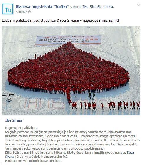 Lūdzam palīdzēt mūsu studentei Dacei Siksnai - nepieciešamas asinis! http://t.co/xsXAf81nyr