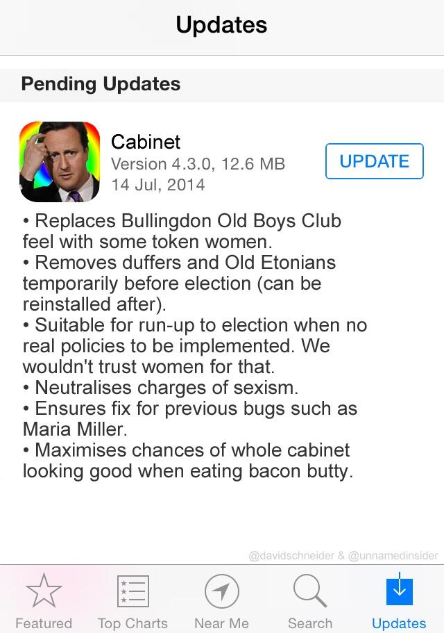 Cabinet reshuffle: here's the update Cameron's using http://t.co/vSGGShxOjc