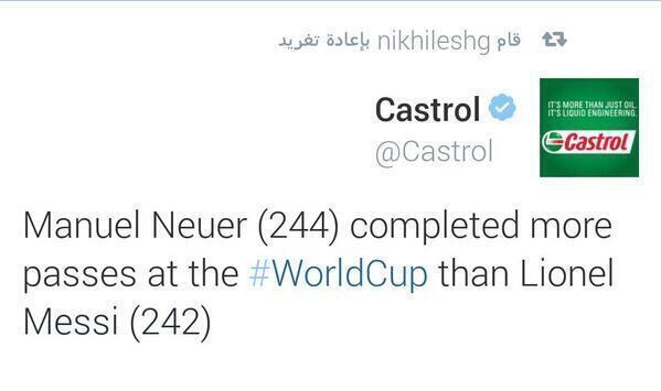 احصائية: مانويل نوير قام ب244 تمريرة في المونديال اكثر بتمريرتين من افضل لاعب في المونديال حسب فيفا @GER_Fans http://t.co/6Mme6eF0nB