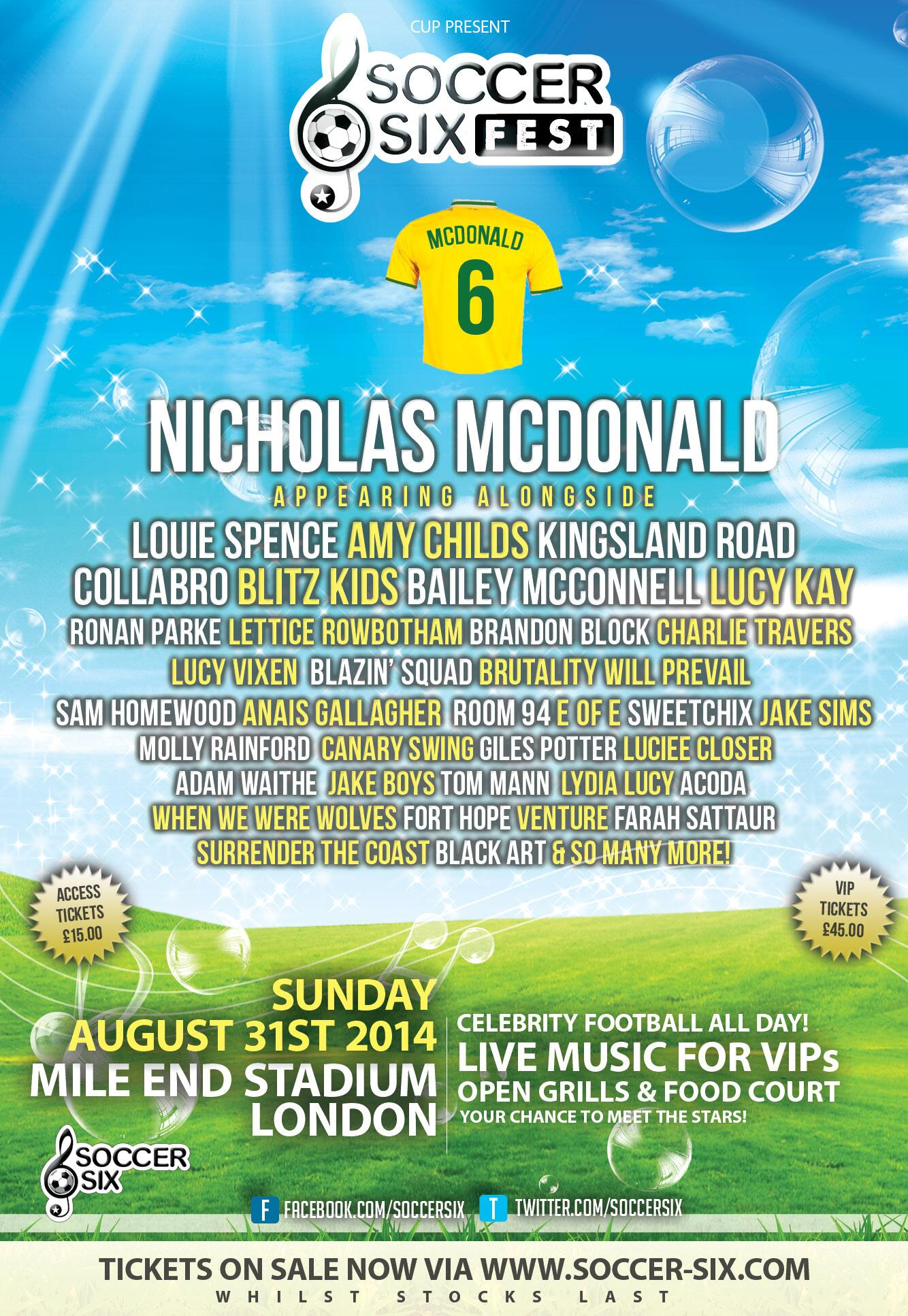 RT @SoccerSix: WHO'S EXCITED to see @nickymcdonald1 at #SoccerSixFest? Grab your tickets: http://t.co/3EFtLsZB24! http://t.co/ir38f0onH9