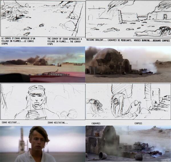 Interesting shot by shot storyboard comparison of Jodorowsky's Dune & Star Wars Episode 4: A New Hope. http://t.co/8TXcLw4WPs