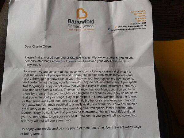 Truly brilliant letter from a primary school to its pupils: you are more than your exam results. https://t.co/SCVsMcdeTP (and it's genuine)