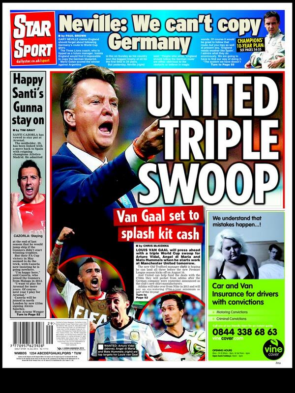 Manchester United boss Louis van Gaal lining up Triple Swoop for Vidal, Di Maria & Hummels [Star]