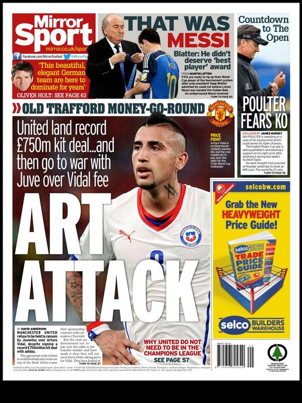 Manchester United looking to lower Juventus £34m asking price for Arturo Vidal [Mirror]