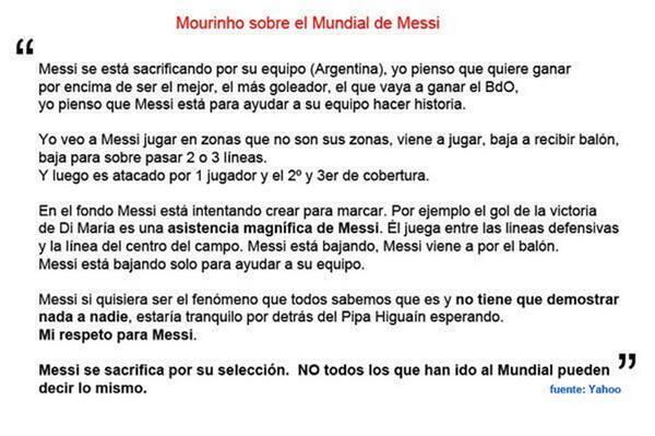 Mourinho sobre #Messi // Gracias por explicarlo para los pelotudos que lo siguen puteando http://t.co/45DPPF8xrH