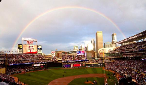 Amazing rainbow over Target Field during the Gillette Home Run Derby #HRDerby http://t.co/6lsOrjGngL