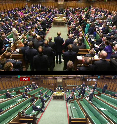 Top: MPs debating their pay.  Bottom: MPs debating emergency legislation to erode human rights in the UK.  http://t.co/wXG27LOgPu  #DRIP