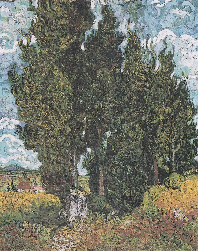 Cypresses with Two Figures