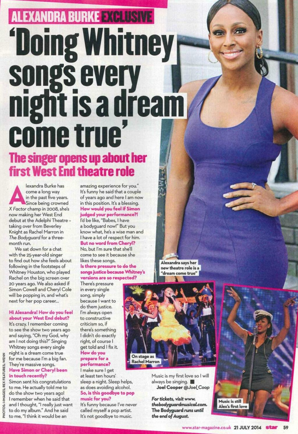 "RT @TheBodyguardUK: ""Doing Whitney songs every night is a dream come true"" - @alexandramusic in @star_magazine. #TheBodyguardMusical RT: ht…"