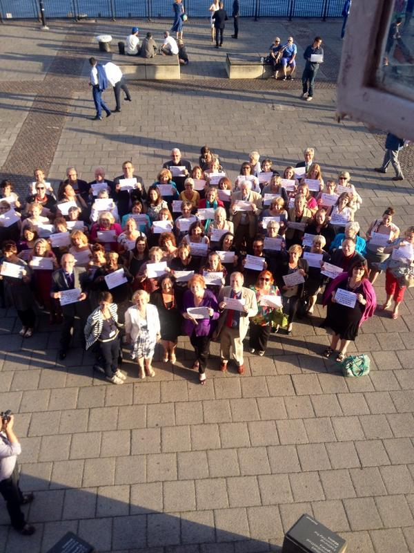 Check out the sea of pledges outside the Pierhead in Cardiff Bay! Talk about a strong start #5050by2020 http://t.co/qUag5TKV8Z