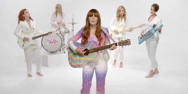#KristenStewart in #YigalAzrouel in new @jennylewis video feat. #AnneHathaway and #BrieLarson. http://t.co/O1vPm7gc6Q http://t.co/g6y4vaG07P
