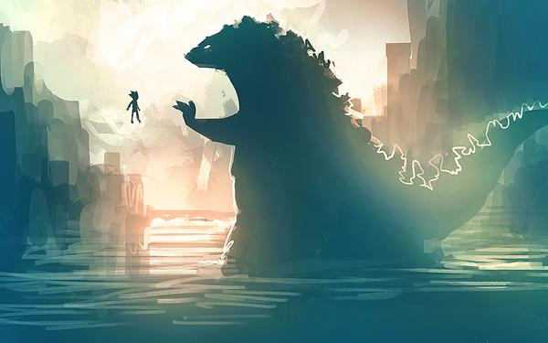 Forgot to post this weeks ago. Godzilla meets Astro Boy, as requested by audience member at Bellevue Public Library. http://t.co/e23vX0sJQB