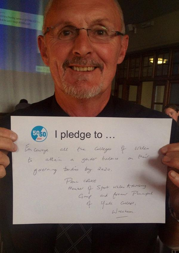 """What will you pledge to do to work towards #5050by2020? http://t.co/KmFGoXTMwm"" gr8 pic of Paul from #education @sport_wales #SWAG group"