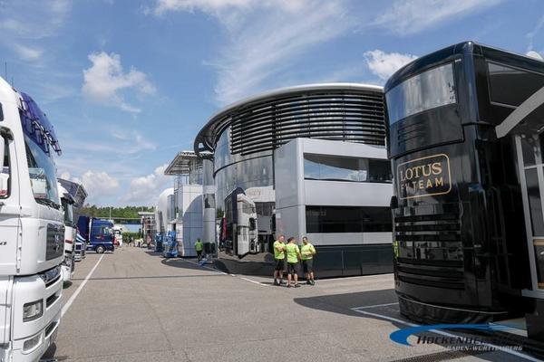The paddock is empty... yet!! Cool @Lotus_F1Team truck, or? #GermanGP #F1