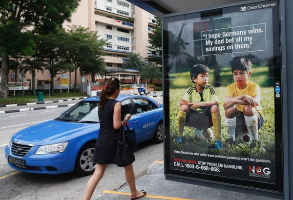Way to go, kid! RT @GSElevator: Anti-gambling ad in Singapore for the World Cup totally backfires: http://t.co/OQ7oocY2Rr