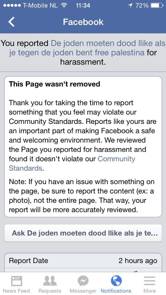 'Joden moeten dood'-pagina mag gewoon van Facebook... Wat heeft rapporteren dan nog voor zin? http://t.co/XE0BNEtGSd