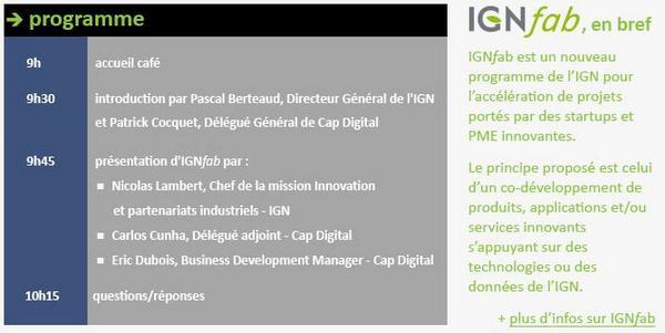 RV demain 9h00 dans les nouveaux locaux de @Cap_Digital : matinée d'échanges autour de #IGNfab http://t.co/5kIiS3M8fM http://t.co/PWeBpE02RG