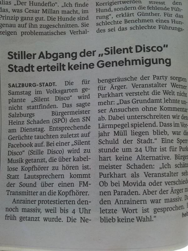 Die silent disco erhält keine genehmigung mehr, da sie zu viel lärm erregte. Sachen gibts... http://t.co/MNAXlfBb4n