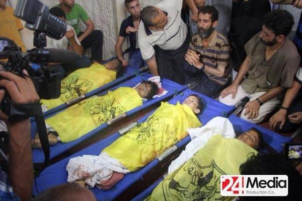 4 little boys were killed while playing football on #Gaza beach today. May their souls rest in peace... http://t.co/Wr5S8pdDIC