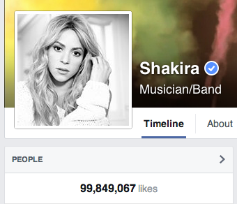 Countdown has started! Hours away for @shakira to reach 100 million on Facebook. 1st person/brand to achieve this http://t.co/45p8ZAN6TA