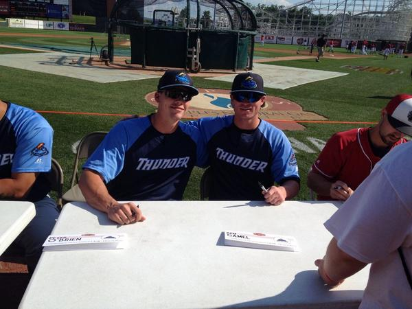 #Yankees // RT @mattkardos: @TrentonThunder All-Stars Peter O'Brien and Ben Gamel at  @EasternLeague All-Star Game http://t.co/LUoZ1dhIaF