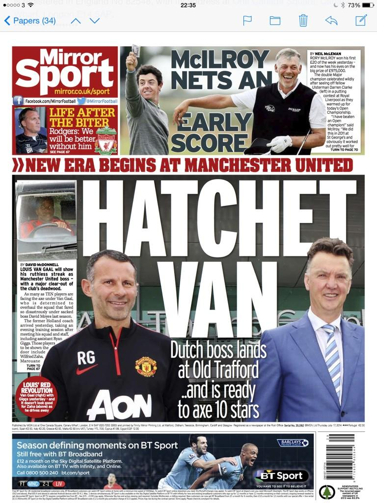 Kagawa, Fellaini, Zaha, Nani, Chicharito & five others set for Manchester United axe [Mirror & Express]